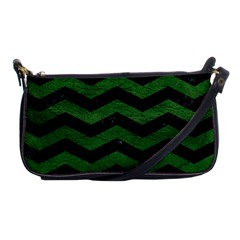 CHEVRON3 BLACK MARBLE & GREEN LEATHER Shoulder Clutch Bags