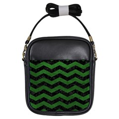 CHEVRON3 BLACK MARBLE & GREEN LEATHER Girls Sling Bags