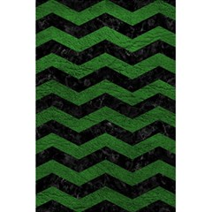 CHEVRON3 BLACK MARBLE & GREEN LEATHER 5.5  x 8.5  Notebooks