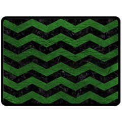 CHEVRON3 BLACK MARBLE & GREEN LEATHER Fleece Blanket (Large)