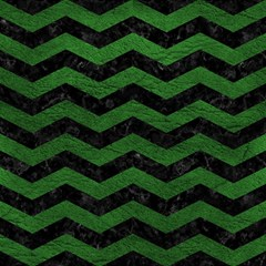 CHEVRON3 BLACK MARBLE & GREEN LEATHER Magic Photo Cubes