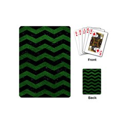 CHEVRON3 BLACK MARBLE & GREEN LEATHER Playing Cards (Mini)