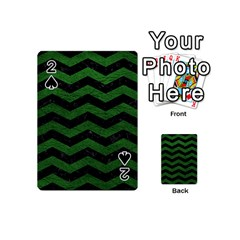 CHEVRON3 BLACK MARBLE & GREEN LEATHER Playing Cards 54 (Mini)