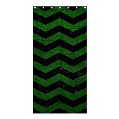 CHEVRON3 BLACK MARBLE & GREEN LEATHER Shower Curtain 36  x 72  (Stall)