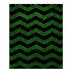 CHEVRON3 BLACK MARBLE & GREEN LEATHER Shower Curtain 60  x 72  (Medium)