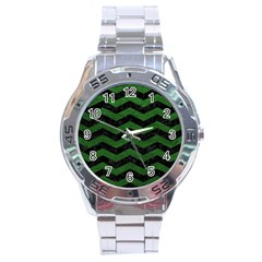 CHEVRON3 BLACK MARBLE & GREEN LEATHER Stainless Steel Analogue Watch