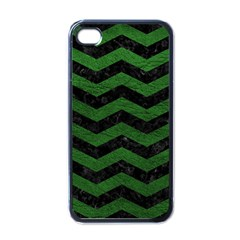CHEVRON3 BLACK MARBLE & GREEN LEATHER Apple iPhone 4 Case (Black)