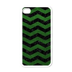 CHEVRON3 BLACK MARBLE & GREEN LEATHER Apple iPhone 4 Case (White)