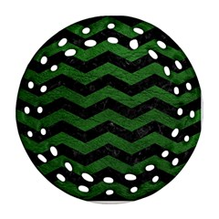 CHEVRON3 BLACK MARBLE & GREEN LEATHER Ornament (Round Filigree)