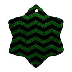 CHEVRON3 BLACK MARBLE & GREEN LEATHER Snowflake Ornament (Two Sides)