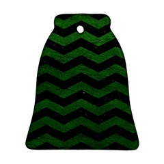 CHEVRON3 BLACK MARBLE & GREEN LEATHER Bell Ornament (Two Sides)