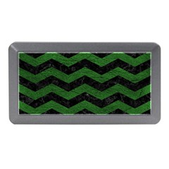 CHEVRON3 BLACK MARBLE & GREEN LEATHER Memory Card Reader (Mini)