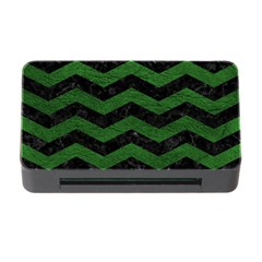 CHEVRON3 BLACK MARBLE & GREEN LEATHER Memory Card Reader with CF