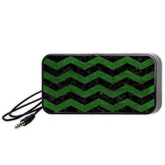 CHEVRON3 BLACK MARBLE & GREEN LEATHER Portable Speaker