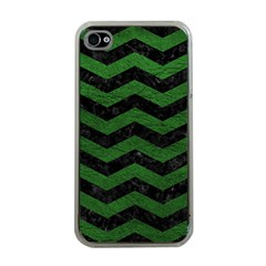 CHEVRON3 BLACK MARBLE & GREEN LEATHER Apple iPhone 4 Case (Clear)