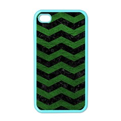 CHEVRON3 BLACK MARBLE & GREEN LEATHER Apple iPhone 4 Case (Color)