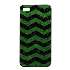 CHEVRON3 BLACK MARBLE & GREEN LEATHER Apple iPhone 4/4s Seamless Case (Black)