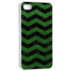 CHEVRON3 BLACK MARBLE & GREEN LEATHER Apple iPhone 4/4s Seamless Case (White)