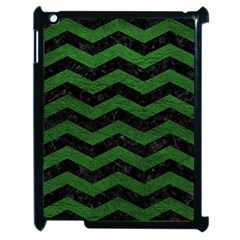 CHEVRON3 BLACK MARBLE & GREEN LEATHER Apple iPad 2 Case (Black)