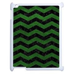 CHEVRON3 BLACK MARBLE & GREEN LEATHER Apple iPad 2 Case (White)