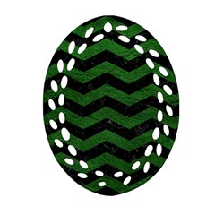 CHEVRON3 BLACK MARBLE & GREEN LEATHER Ornament (Oval Filigree)