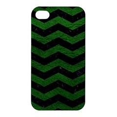 CHEVRON3 BLACK MARBLE & GREEN LEATHER Apple iPhone 4/4S Hardshell Case