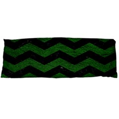 CHEVRON3 BLACK MARBLE & GREEN LEATHER Body Pillow Case (Dakimakura)