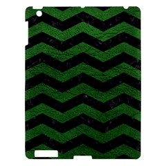 CHEVRON3 BLACK MARBLE & GREEN LEATHER Apple iPad 3/4 Hardshell Case