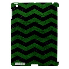 CHEVRON3 BLACK MARBLE & GREEN LEATHER Apple iPad 3/4 Hardshell Case (Compatible with Smart Cover)