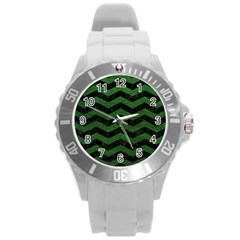 CHEVRON3 BLACK MARBLE & GREEN LEATHER Round Plastic Sport Watch (L)