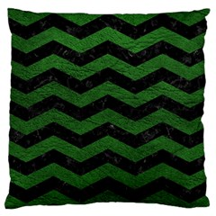 CHEVRON3 BLACK MARBLE & GREEN LEATHER Large Cushion Case (One Side)