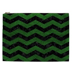 CHEVRON3 BLACK MARBLE & GREEN LEATHER Cosmetic Bag (XXL)