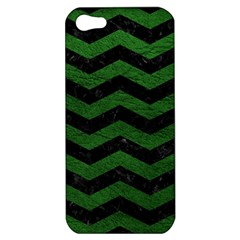 CHEVRON3 BLACK MARBLE & GREEN LEATHER Apple iPhone 5 Hardshell Case