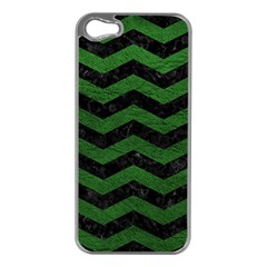 CHEVRON3 BLACK MARBLE & GREEN LEATHER Apple iPhone 5 Case (Silver)
