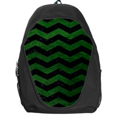 CHEVRON3 BLACK MARBLE & GREEN LEATHER Backpack Bag