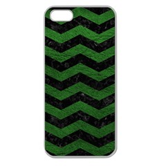 CHEVRON3 BLACK MARBLE & GREEN LEATHER Apple Seamless iPhone 5 Case (Clear)