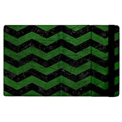 CHEVRON3 BLACK MARBLE & GREEN LEATHER Apple iPad 3/4 Flip Case