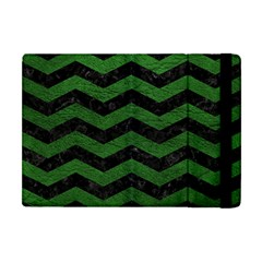 CHEVRON3 BLACK MARBLE & GREEN LEATHER Apple iPad Mini Flip Case