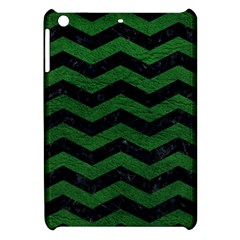 CHEVRON3 BLACK MARBLE & GREEN LEATHER Apple iPad Mini Hardshell Case