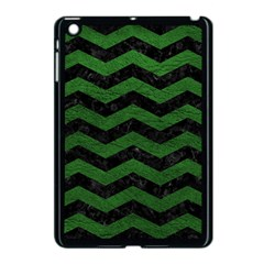 CHEVRON3 BLACK MARBLE & GREEN LEATHER Apple iPad Mini Case (Black)
