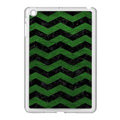 CHEVRON3 BLACK MARBLE & GREEN LEATHER Apple iPad Mini Case (White)