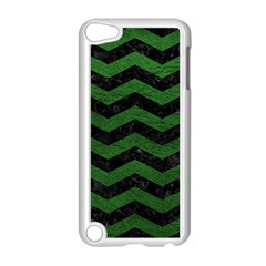 CHEVRON3 BLACK MARBLE & GREEN LEATHER Apple iPod Touch 5 Case (White)