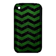 CHEVRON3 BLACK MARBLE & GREEN LEATHER iPhone 3S/3GS