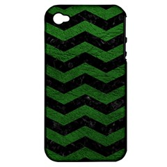 CHEVRON3 BLACK MARBLE & GREEN LEATHER Apple iPhone 4/4S Hardshell Case (PC+Silicone)