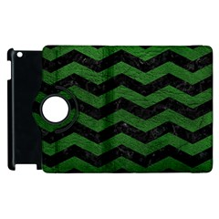 CHEVRON3 BLACK MARBLE & GREEN LEATHER Apple iPad 2 Flip 360 Case