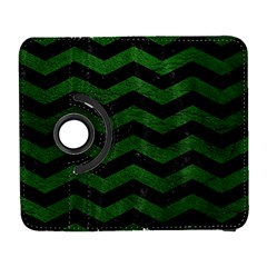 CHEVRON3 BLACK MARBLE & GREEN LEATHER Galaxy S3 (Flip/Folio)