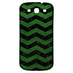 CHEVRON3 BLACK MARBLE & GREEN LEATHER Samsung Galaxy S3 S III Classic Hardshell Back Case