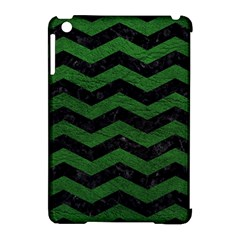 CHEVRON3 BLACK MARBLE & GREEN LEATHER Apple iPad Mini Hardshell Case (Compatible with Smart Cover)