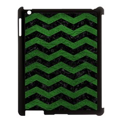 CHEVRON3 BLACK MARBLE & GREEN LEATHER Apple iPad 3/4 Case (Black)