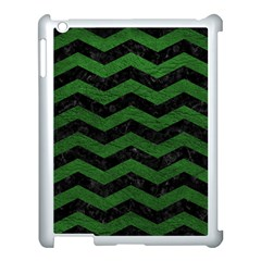 CHEVRON3 BLACK MARBLE & GREEN LEATHER Apple iPad 3/4 Case (White)